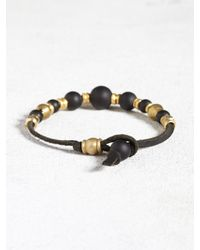 John Varvatos - Black Leather Bracelet With Brass And Onyx Beads for Men - Lyst