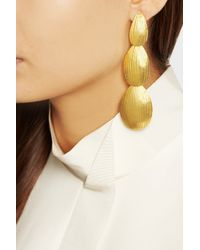 Herve Van Der Straeten - Metallic Hammered Gold-Plated Clip Earrings - Lyst