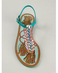Dolce & Gabbana - Blue Embellished Sandals - Lyst