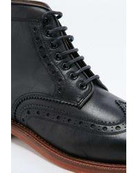 H by Hudson | Sadler Black Brogue Boots for Men | Lyst