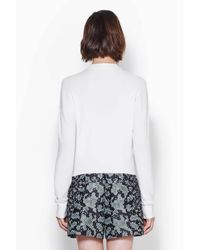 3.1 Phillip Lim - White Long Sleeve Pullover With Jersey Cast Off Stitch - Lyst