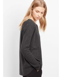 Vince - Gray Cashmere Ribbed Crew Neck Sweater - Lyst