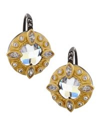 Freida Rothman | Metallic Round Embellished Two-tone Earrings | Lyst