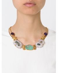 Leivan Kash | Metallic 22kt Gold Plated Amethyst And Turquoise Necklace | Lyst