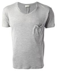 Saint Laurent | Gray Vneck Tshirt for Men | Lyst