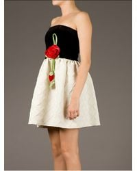 RED Valentino - Black Floral Detail Strapless Dress - Lyst