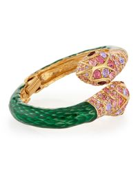 Kenneth Jay Lane - Green Double-headed Snake Bracelet - Lyst
