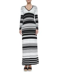 BCBGMAXAZRIA | Black Calypso Striped Longsleeve Maxi Dress | Lyst