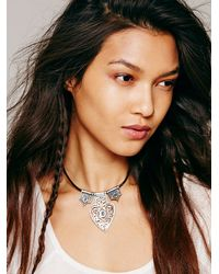 Free People - Black Southbound Leather Necklace - Lyst