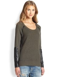Feel The Piece - Gray Ari Leather-Trimmed Waffle-Knit Sweater - Lyst