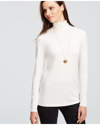 Ann Taylor | White Long Sleeve Turtleneck | Lyst