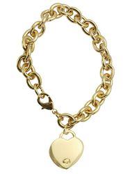 Guess | Metallic Gold-tone Heart Pendant Bracelet | Lyst
