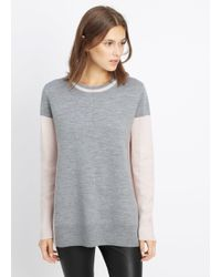 Vince - Gray Double Faced Colorblock Crew Neck Sweater - Lyst