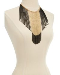 Forever 21 - Metallic Two-Tone Hanging Chain Necklace - Lyst