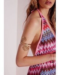 Missguided - Metallic Weave Arm Cuff Gold - Lyst