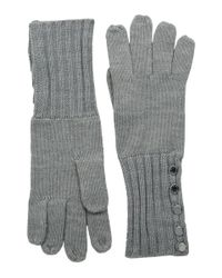 MICHAEL Michael Kors | Gray Fisherman Stitch Button Glove | Lyst
