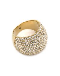 Michael Kors - Metallic Pave Dome Ring - Gold/Clear - Lyst