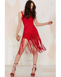 Nasty Gal | Midi Ground Fringe Romper - Red | Lyst