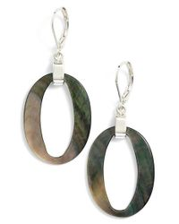 Anne Klein | Black Mother-of-pearl Drop Earrings | Lyst