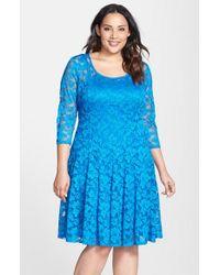 Chetta B - Blue Lace Fit & Flare Dress - Lyst