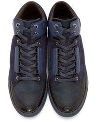 Lanvin - Blue Navy & Black Mid-top Sneakers for Men - Lyst
