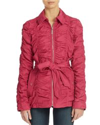 Betsey Johnson | Pink Crinkle Zip Front Jacket | Lyst