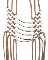 Clemmie Watson | Brown Leather Necklace | Lyst