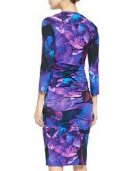 Nicole Miller Artelier - Blue 3/4-sleeve Floral Jersey Dress - Lyst