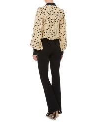 Biba | Black Heritage Collar Detail Printed Volume Blouse | Lyst