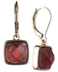 Anne Klein   Metallic Gold-tone Burgundy Stone Leverback Earrings   Lyst