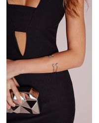 Missguided | Metallic Dainty Jewel Bangle Set Silver | Lyst