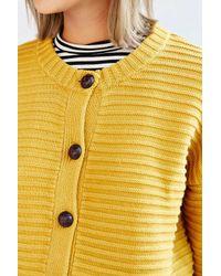 Cooperative - Yellow Textured Stitch Cardigan - Lyst