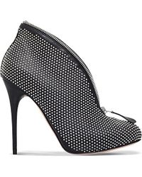 Alexander McQueen - Black Zip-closure Studded Leather Boots - Lyst