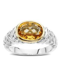 Lord & Taylor | Metallic Sterling Silver And 14 Kt. Yellow Gold Citrine Ring | Lyst