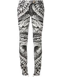 Balmain   Black Printed Skinny Trousers   Lyst