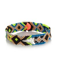 Dezso by Sara Beltran - Blue Shark Tooth Woven Cotton And Silver Friendship Bracelet - Lyst