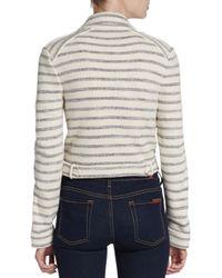 BCBGMAXAZRIA - Blue Striped Knit Motorocycle Jacket - Lyst