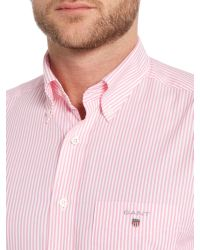 GANT | Pink Banker Stripe Shirt for Men | Lyst