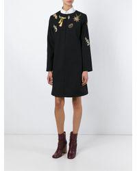 Vivetta - Black Longsleeved Embroidered Dress - Lyst