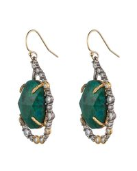 Alexis Bittar - Green Crystal Embellished Tear Drop Earring With Rose Cut Chrysocolla - Lyst