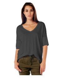 Michael Stars | Black Rolled Sleeve V-neck Tee | Lyst