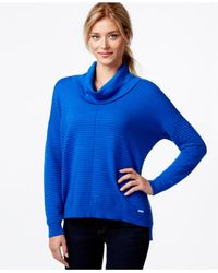 Calvin Klein | Blue Ribbed-knit Cowl-neck Sweater | Lyst