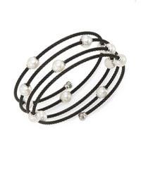 Alor | Noir 1.6mm White Round Freshwater Pearl, 18k White Gold & Black Stainless Steel Bracelet | Lyst