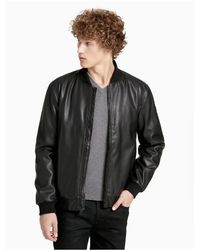 CALVIN KLEIN 205W39NYC - Black Smooth Faux Leather Bomber Jacket for Men - Lyst