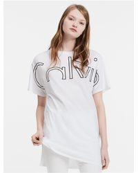 Calvin Klein | White Jeans Boxy Long Logo T-shirt | Lyst