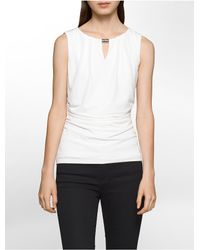 Calvin Klein | White Pleat Neck Shirred Sleeveless Top | Lyst