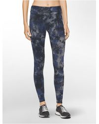Calvin Klein | Blue Performance Heathered Tie-dyed Leggings | Lyst