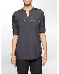 Calvin Klein - Gray Mandarin Collar Roll-up Sleeve Blouse - Lyst