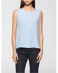 Calvin Klein | Blue Lightweight Split Neck Top | Lyst