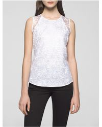 Calvin Klein | White Floral Lace Sleeveless Top | Lyst